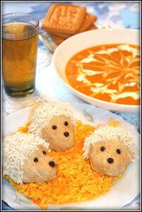 Суп-пюре из тыквы, паровые ежики, компот из сухофруктов