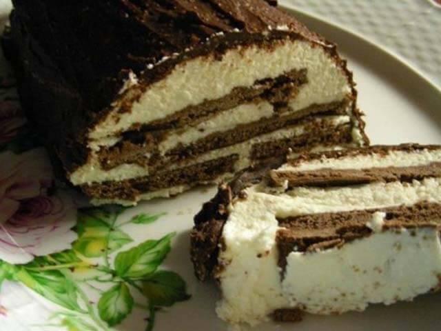 Торт без выпечки — сметанно-творожный торт