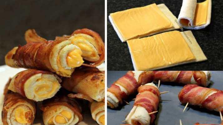 Рулетики из сыра с беконом