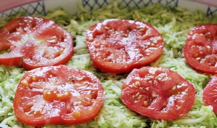 Запеканка из томатов, кабачков