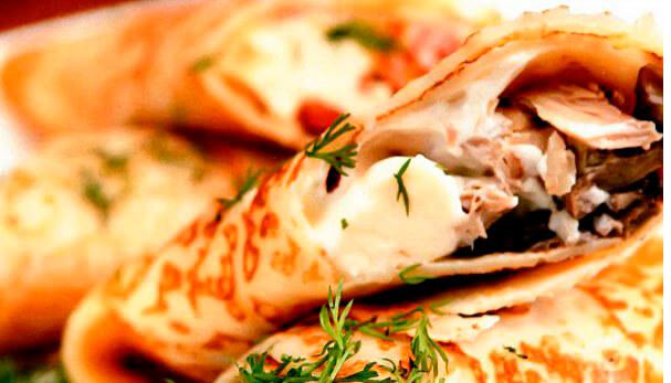 Потрясающие блинчики с грибами и сыром