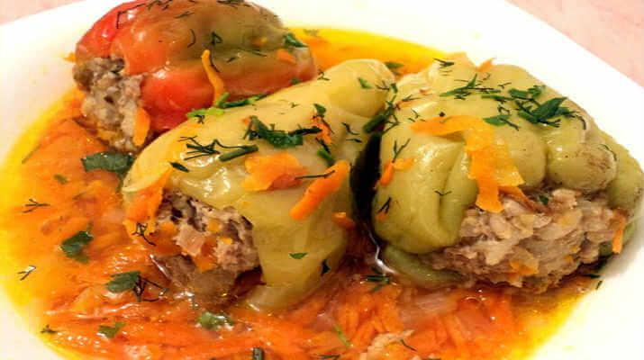 Перец с рисом и овощами