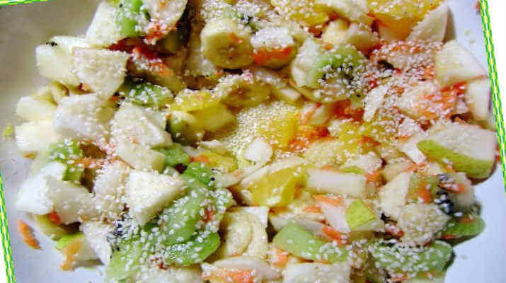 Жареный фруктовый десерт