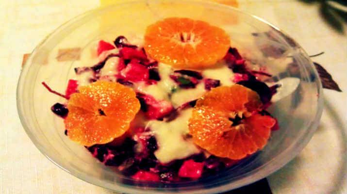 Необычная игра красок и вкуса! Салат из свеклы с мандаринами!