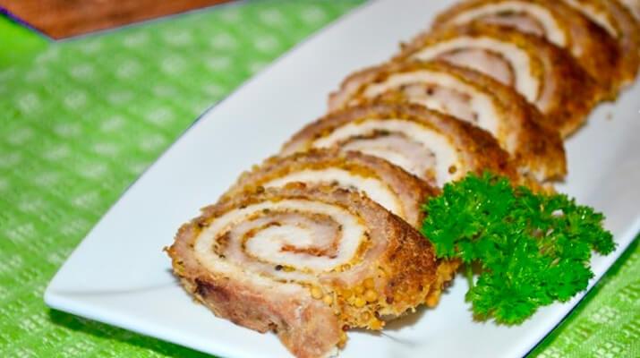 Праздничный закусочный рулет из двух видов мяса : мастер-класс