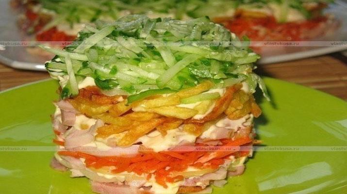 Обалденный слоеный салат с курицей и картофелем