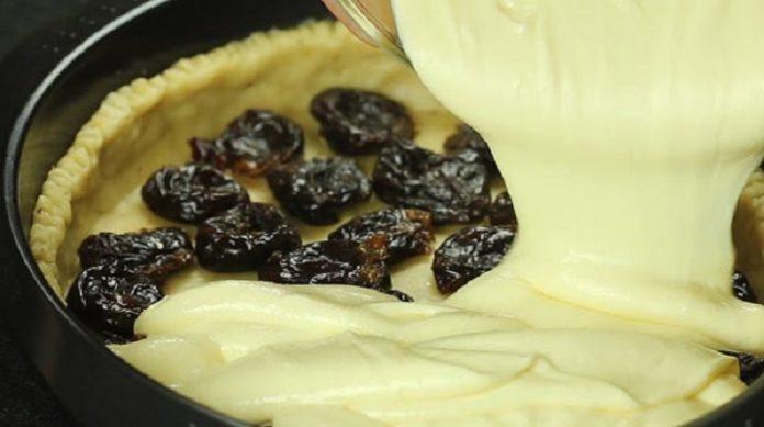 Творожный пирог с черносливом