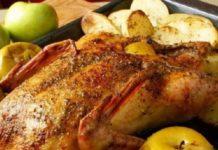 Курица, запечённая в маринаде с корицей