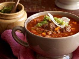 Тыквенный суп с бульоном и крупами
