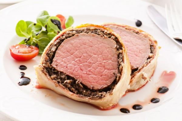 Мясо в тесте с грибами