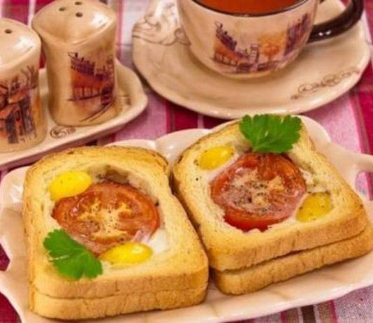 Бутерброды с колбасой и помидором