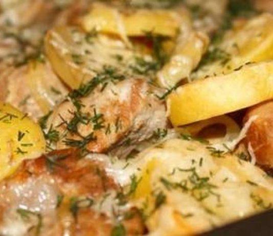 Картошечка с сыром и маринованным мясом