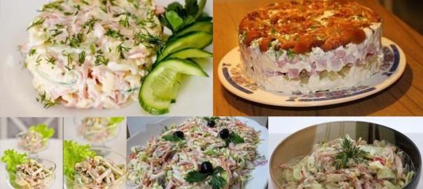 сухарный салат рецепт с ветчиной