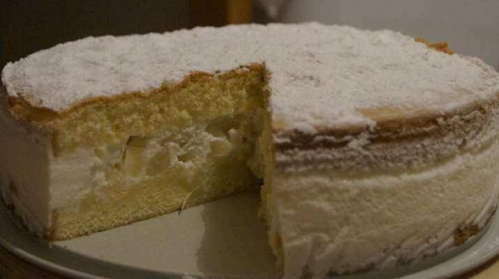 Ванильный бисквит с нежным творожным кремом