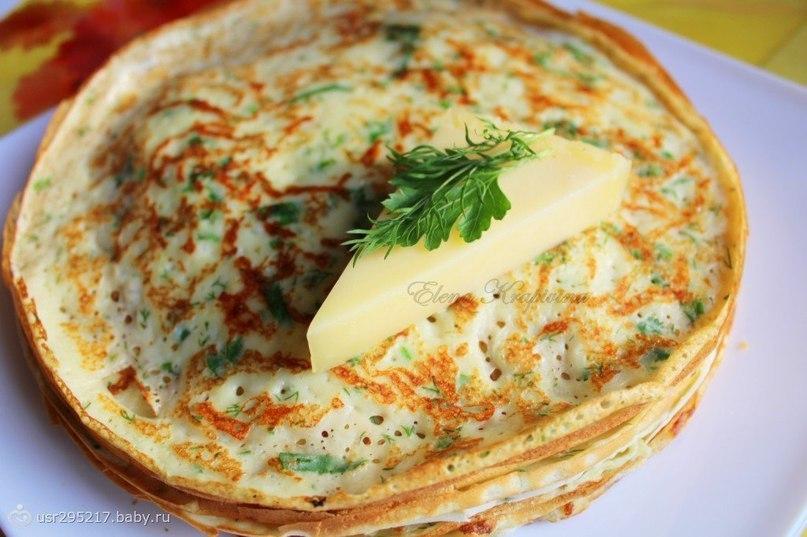Блины с укропом и сыром