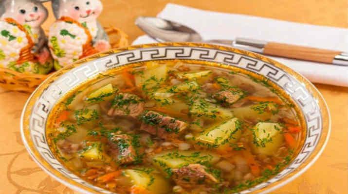 Наваристый и очень вкусный гречневый суп с мясом