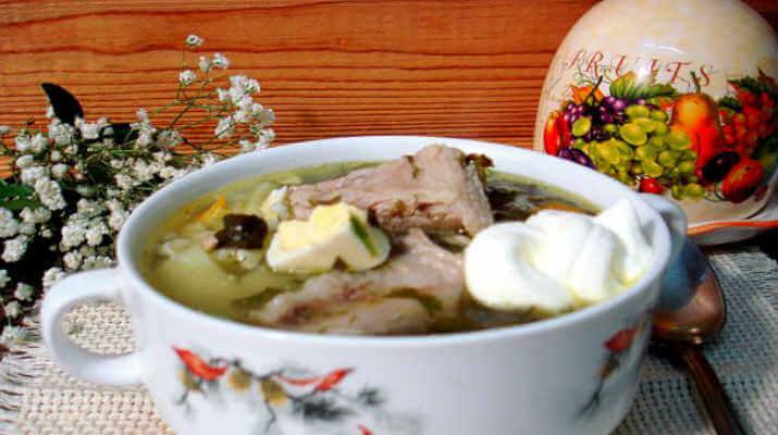 Суп рисовый с рёбрышками