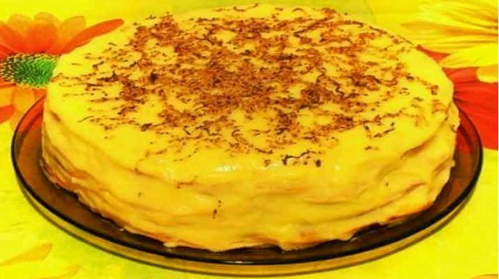 Торт из творожных коржей с кремом