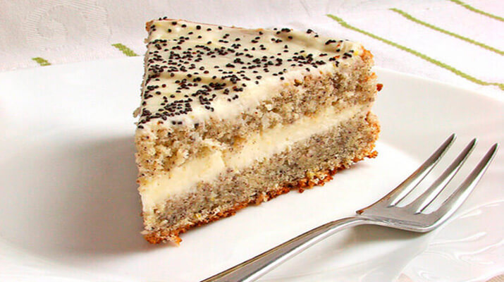Изумительный легкий маково-творожный торт