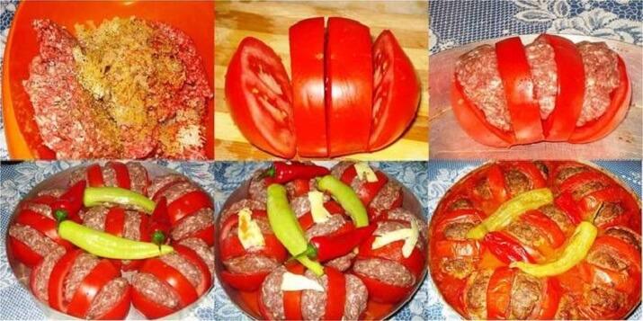 Запеченные помидоры с фаршем по-арабски