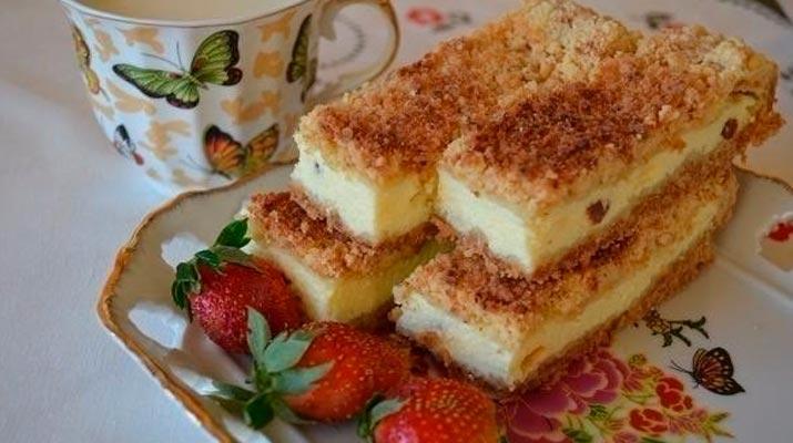 Песочное тесто + творожная начинка = нежнейший домашний пирог