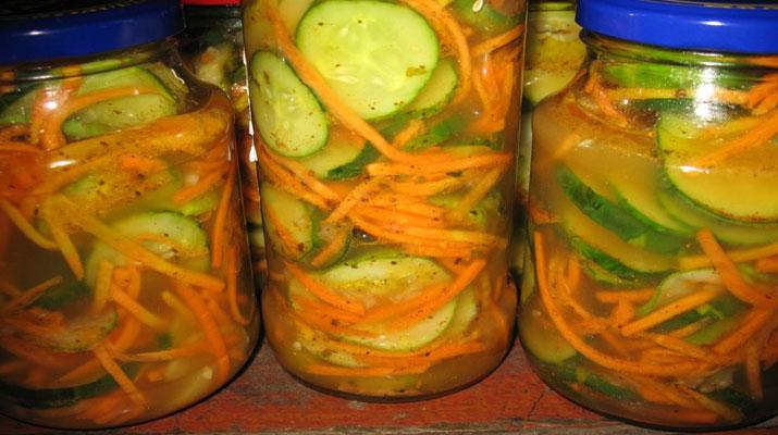 Рецепты огурцов по-корейски с морковью на зиму