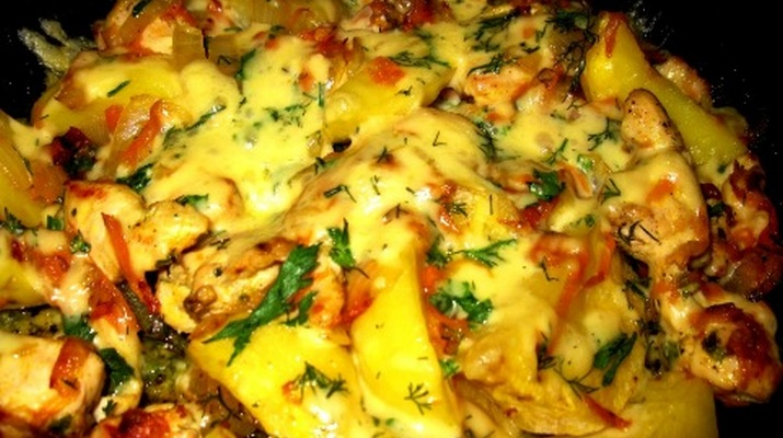 Курица с сыром с картошкой в духовке рецепт пошагово в