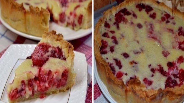 Цветаевский пирог с малиной