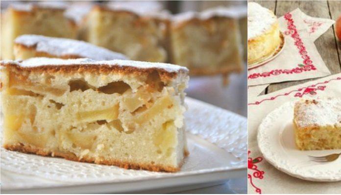 Заливной пирог с яблоками