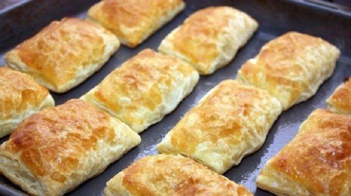 Вкусные пирожки из слоеного теста с мясом