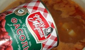 Суп из красной консервированной фасоли